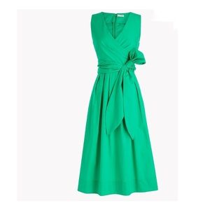 J crew green cotton wrap vneck shirt dress